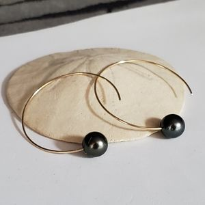 Tahitian pearl hoops earrings gold filled silver